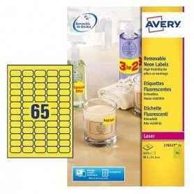Etiqueta adhesiva avery tamaño 38,1x21,2 mm removible amarillo fluorescente caja de 1625 unidades