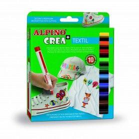 ALPINO CREA ESTUCHE 10 ROTULADORES TEXTIL