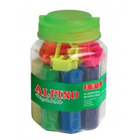 ALPINO KIT PLASTILINA 8 COLORES + 10 MOLDES + RODILLO