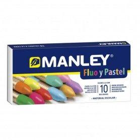 10 CERAS FLUO Y PASTEL MANLEY