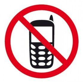ETIQUETA ADHESIVA DE SEÑALIZACION PROHIBIDO TELEFONO MOVIL