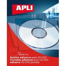 BOLSILLO AUTOADHESIVO PARA CD-ROM. 6UD.