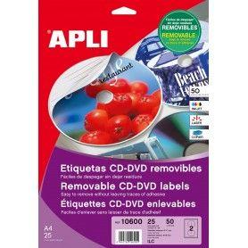 ETIQUETAS CD-DVD MEGA REMOVIBLES. 25 HOJAS