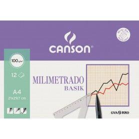 CANSON MINIPACK A4 12H MILIMETRADO BASIK 100G SEPIA