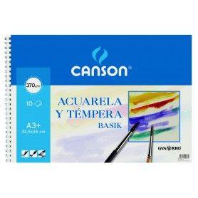 CANSON BLOC ESPIRAL BASIK A3 10H. PARA ACUARELA 370G
