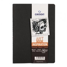 PACK 2 CUAD. ART BOOK 14,8X21 30H CANSON INSP. 96G NEGRO/GRIS