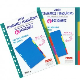 JUEGO 4 SEPARADORES TRANSPARENTES POLIPROPILENO ALTA CALIDAD