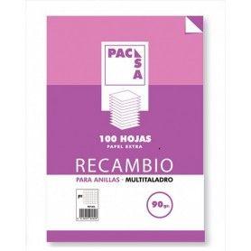 PACSA RECAMBIO A4. 90GRS CUADRICULA 4X4. 4 TALADROS.