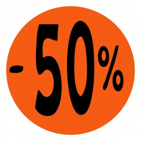 """CARTEL CARTULINA """"-50%"""""""