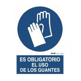CARTEL ADHESIVO: ES OBLIGATORIO EL USO DE LOS GUANTES (9X12CM)