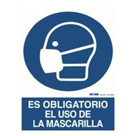 CARTEL ADHESIVO: ES OBLIGATORIO EL USO DE LA MASCARILLA (9X12CM)